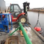 Test set-up hydraulically driven oil skimmer